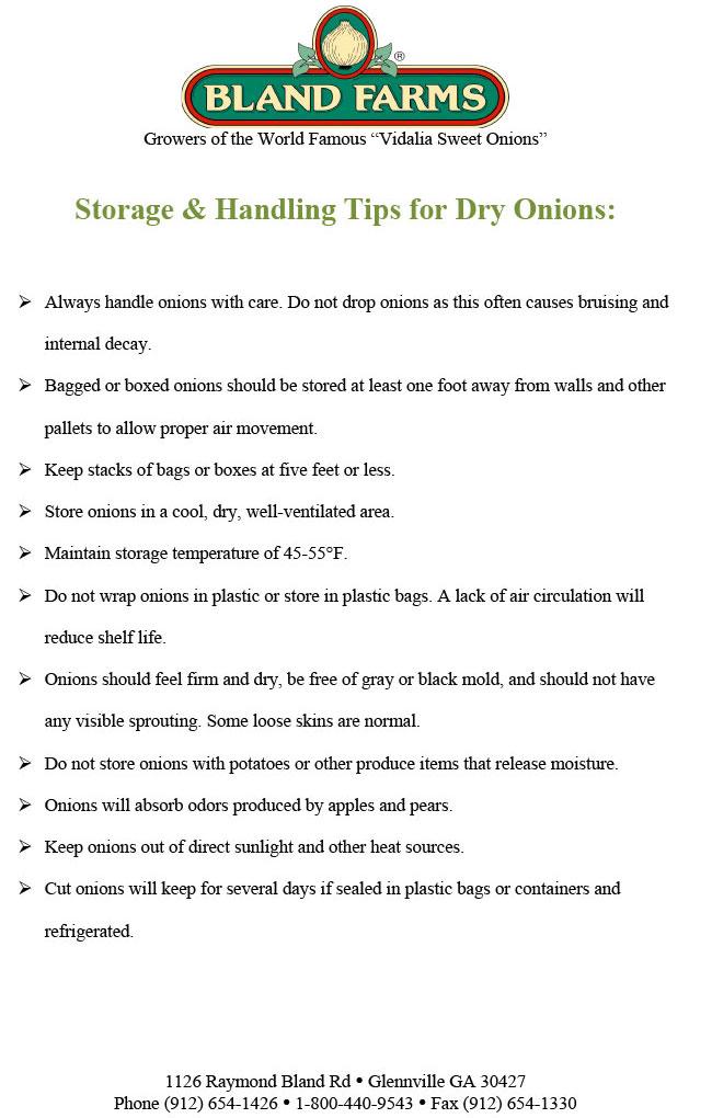 Storage & Handling Tips