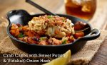 Crab cakes with sweet potato and vidalia onion hash