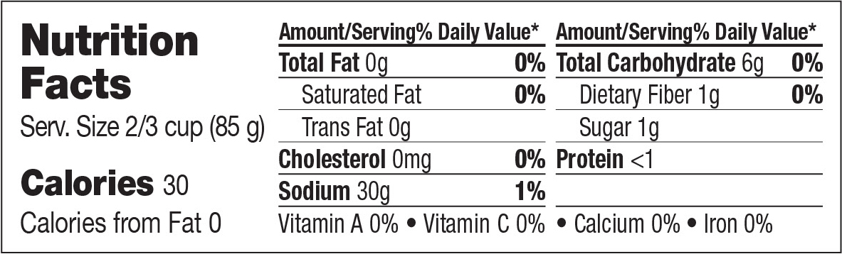 Nutrition Facts - Sweet Sliced Onions
