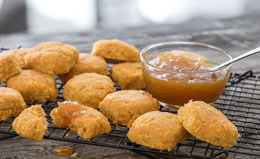 Sweet Potato Biscuits with Vidalia Onion and Orange Marmalade