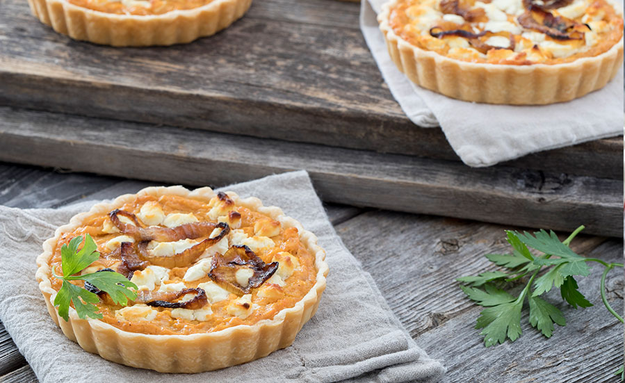 Sweet Potato and Goat Cheese Tart with Caramelized Vidalia® Onions