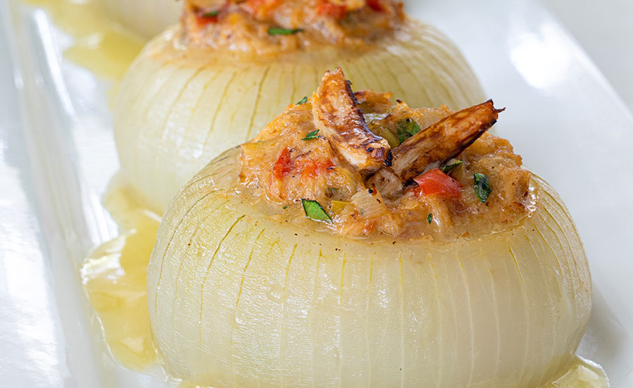 Crab-Stuffed Vidalia® Onion with Wine Sauce